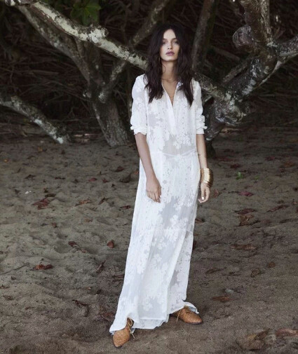 bacd24db8d 2016 Women BOHO Slit Side Lace White Chiffon Maxi Dress New Spring Summer  Lapel Long Sleeve Beach Long Dresses blouse shirt-in Dresses from Women's  Clothing ...