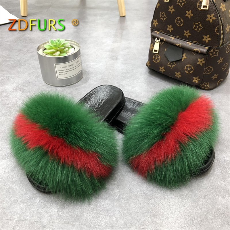 ZDFURS* 2018 New Patchwork Real Fox Fur Slippers Flip Flops Flat Soft Fur Sliders Slippers Wholesale