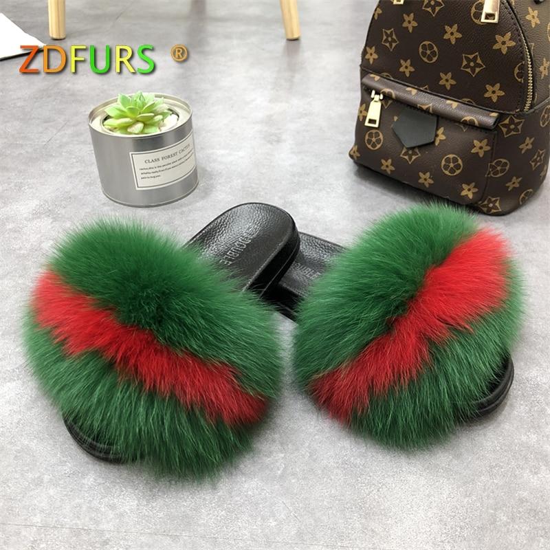 ZDFURS* 2018 New Patchwork Real Fox Fur Slippers Flip Flops Flat Soft Fur Sliders Slippers Wholesale