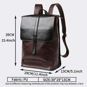Image 4 - Vintage Laptop Leather Backpacks for School Bags Men PU Travel Leisure Backpacks Retro Casual Bag Schoolbags Teenager Students