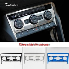 Tonlinker Cover Stickers for SKODA KODIAQ 2017-18 Car Styling 1 PCS Stainless steel Air conditioning Adjustment position Sticker