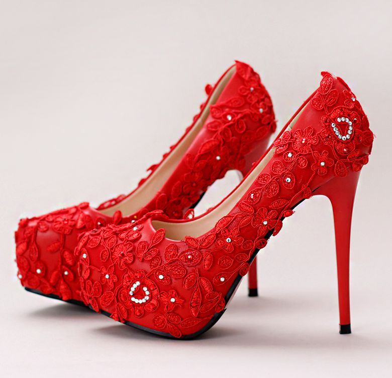 ФОТО 14CM super high heels red color party pumps shoes for woman lace crystal fashion ladies girl red party dress pump shoes TG768