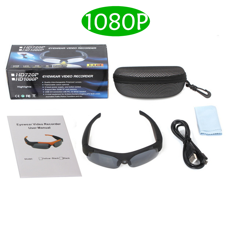 HD 1080P Sunglasses Mini Camera Wide angle 120 degrees Black/Orange Mini DV Camcorder DVR Video Camera Smart Glasses sm16