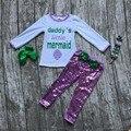Crianças Caem roupas das meninas do bebê papai pequena sereia roupas de manga longa com calças de paetês roupas com acessórios