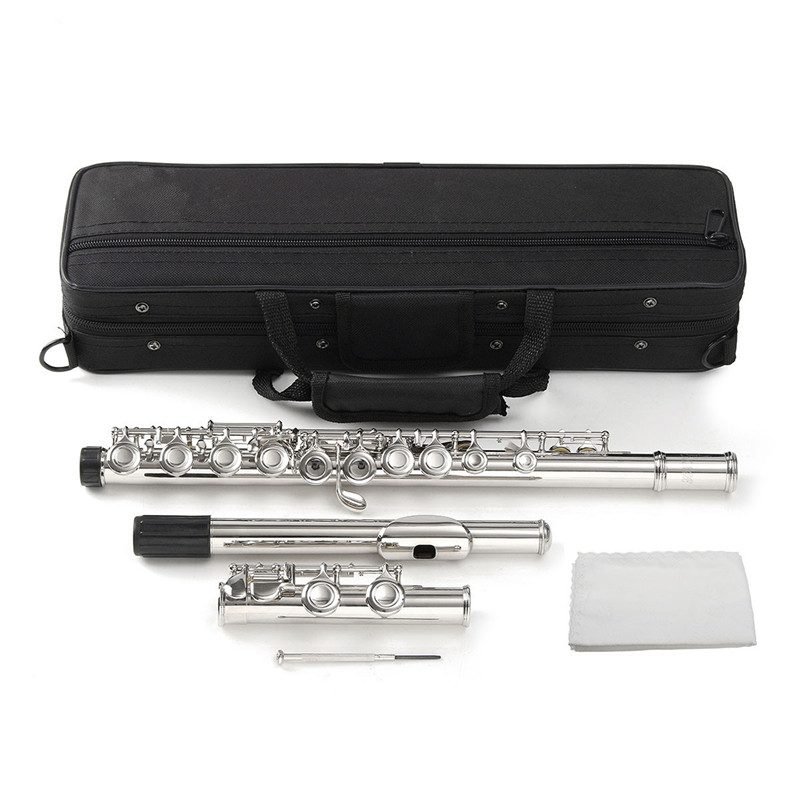цена 16 Holes C Key Concert Flute Kit Silver Cupronickel Nickel Plated with Case Cover Parts For Musical Instrument Beginners