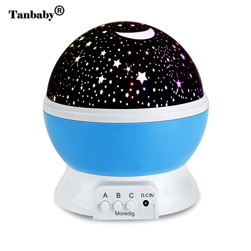 Tanbaby USB Rotating Night Light Romantic Starry Sky Star Projector Lamp Master Children Kids Baby bedroom Led Lamp Projection rotation starry star moon sky romantic night projector light lamp pink