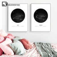 Constellations Nursery Wall Art Canvas Painting Zodiac Astrology Sign Black White Poster Print Nordic Kids Decoration Pictures