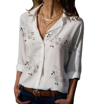 Long Sleeve Women Blouses 2021 Plus Size Turn-down Collar Blouse Shirt Casual Tops Elegant Work Wear Chiffon Shirts 5XL 3