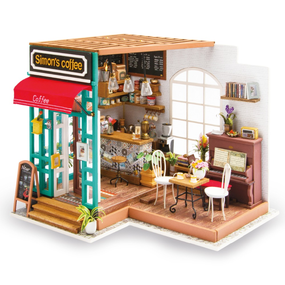 Robotime DIY Simon s Coffee with Furnitures Children Adult Miniature Wooden Doll House Model Building Kits