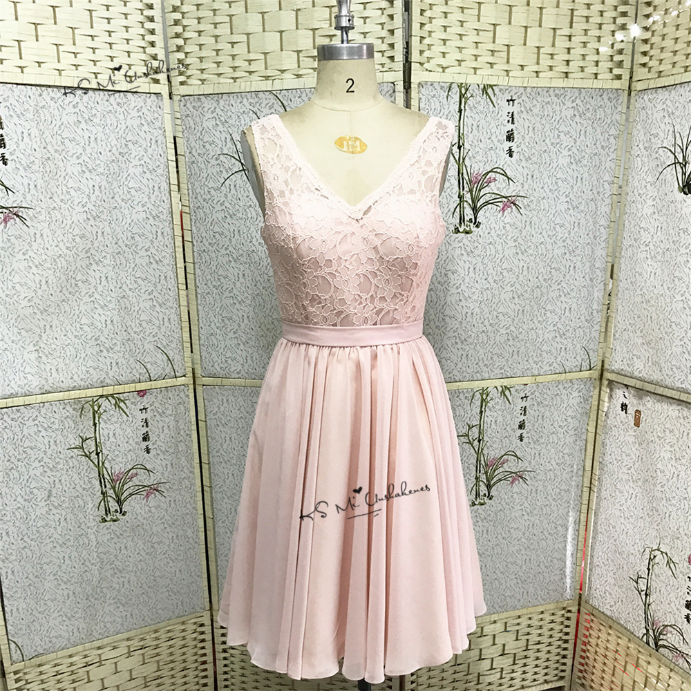 Robe Demoiselle d'honneur Pink   Bridesmaid     Dresses   Short Lace Wedding Party   Dress   2017 Knee Length V Neck Back Guest Wear Jurken