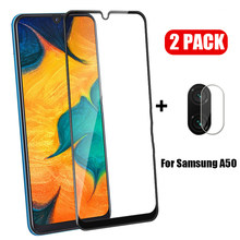 2 in 1 Protective Glass on For Samsung Galaxy A50 Full Cover Camera Screen Protector Film and Tempered Glass For SM A50 A505F(China)