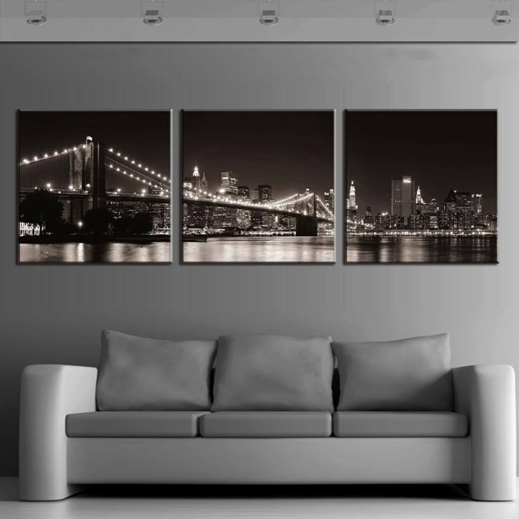3 Pcs Set Landscapethe Black Night Of The Brooklyn Bridge