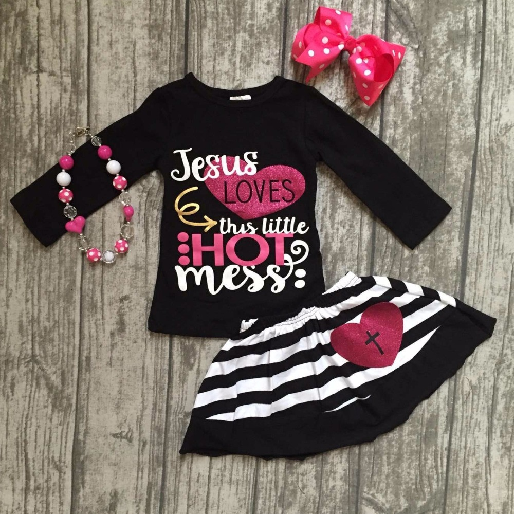 Jesus loves this little hot mess Fall baby Girls skirt outfits cotton clothing set children outfits with matching accessories baby loves