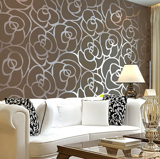 3d Papel De Parede Background Non Woven Flocking Coffee Rose Wallpaper Rolls For Living Room Wall