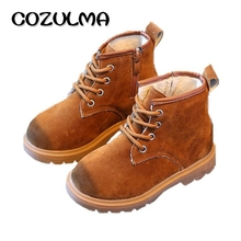 COZULMA Kids Winter Plush Snow Boots For Girls Boys Martin Boots Children Flock Ankle Boots Shoes 3 Colors Size 21-36