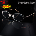 New Rimless Oval Stainless Steel Eyeglasses Frame Brand Designer Myopia Clear Glasses Prescription Lenses oculos de grau