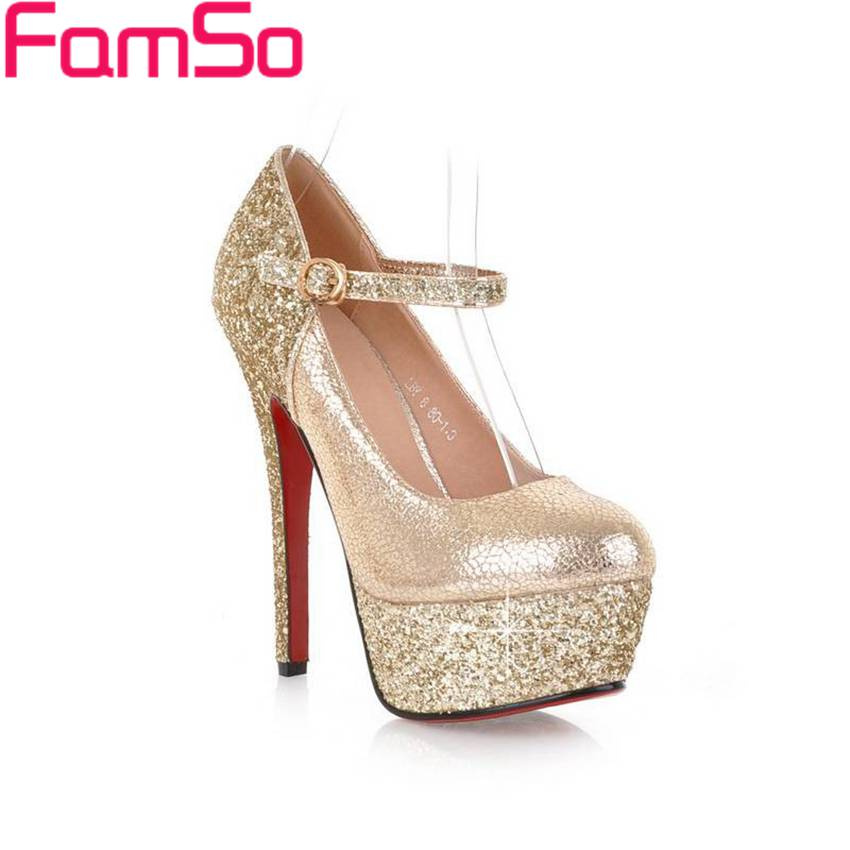 Free shipping 2016 Sexy font b Women b font Pumps Spring Single high Heels Shoes gold