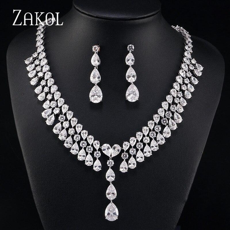 ZAKOL Luxury Brilliant Water Drop Cubic Zircon Earrings Necklace Jewelry Set Wedding Bridal Dinner Dress Accessories