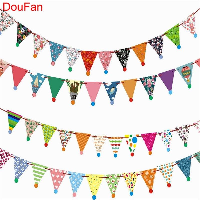DouFan 1set Indiase Mandala Papieren Wimpelbanner Vlaggen - Feestversiering en feestartikelen