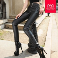 S 5XL plus big szie High quality spring black four breasted button PU leather pants women's was thin pencil pants wj536