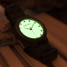 BOBO BIRD PO4 Lightweight Wooden Watches Unique Luminous Dial Mens Watch With Luminous Hands in Gift Box