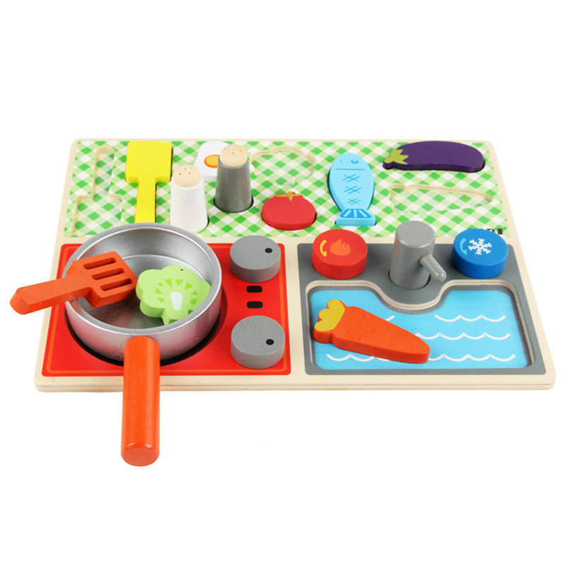 Free Shipping Kids Simulation Kitchen Wooden Toys Kitchen Toys Set  Classic Educational Pretend Play Toy My First Kitchen Set