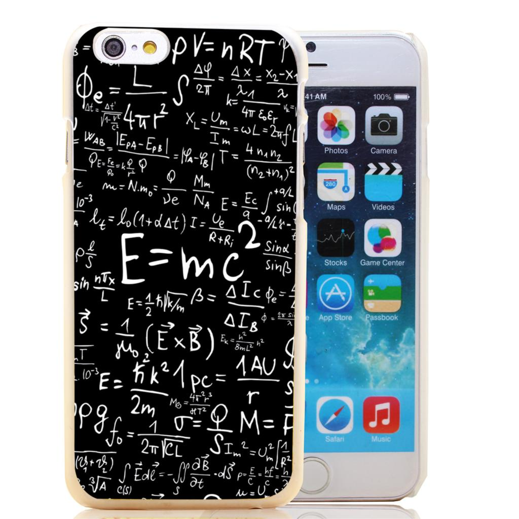 482-HOQE e mc2 with E=mc Formula Math Einstein Transparent Hard Case Cover for iPhone 6 6s plus 5 5s 5c 4 4s Phone Cases