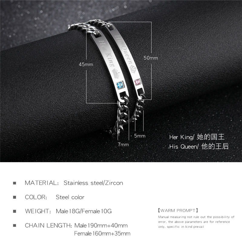 V.Ya Unique Gift for Lover His QueenHer King  Couple Bracelets Stainless Steel Bracelets For Women Men Jewelry Drop Shipping