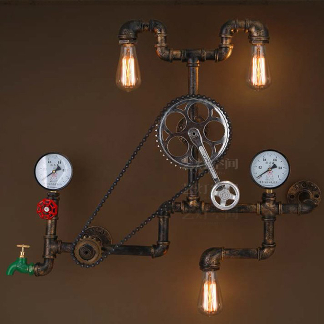 Water Pipe Lamp Wall Light Fixtures Vintage Industrial