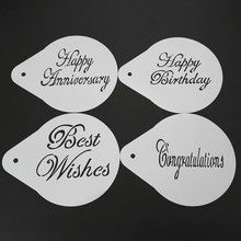 4pcs/set 5 Inch Blessing Anniversary Design Cake Stencils Template Fondant Cake Decorating Tools