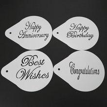 5 Inch Blessing Happy Birthday Anniversary Cake Stencil Cake Decoration Plastic Fondant Molds Baking Tools