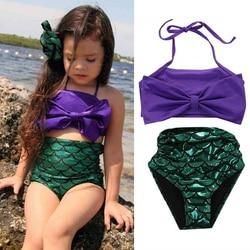 Купальный костюм русалки для девочек; комплект из 2 предметов; наборы Бикини Лето; милый купальник с фиолетовым бантом; Детский костюм; пляжн... 1