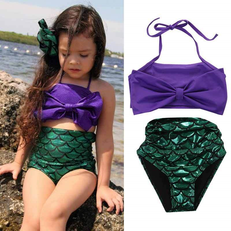 Girls Mermaid Swimsuit Kids 2 Piece Bikini Sets Summer Cute Swimwear With Purple Bow Children Costume Beach Bathing Suit Clothes