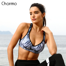 Charmo Women Sports Bra Med Impact Support Backcross Yoga Running Workout Underwear Fitness Top Wave Printed