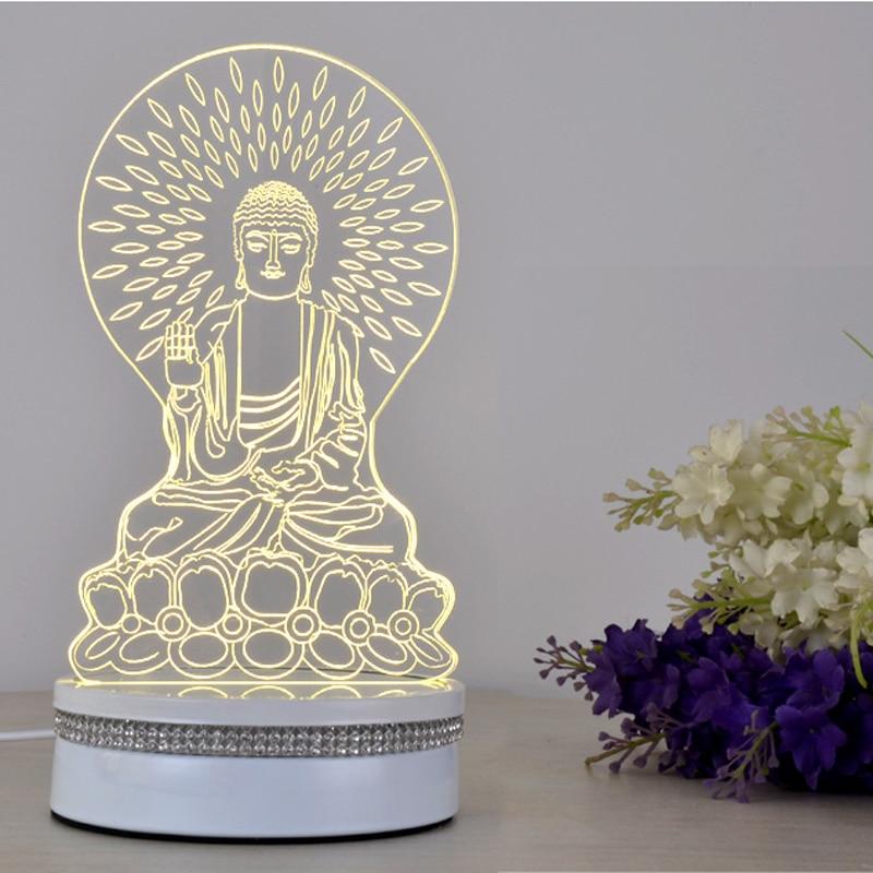 3d Lamp Table Lamp Desk Lamp USB Light Acrylic Led Night Light Creative Buddha  Lamp Josen Brand