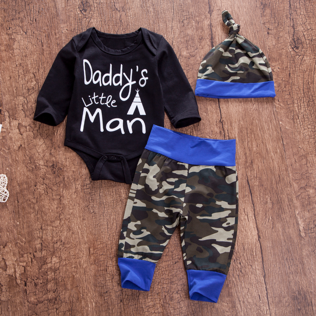 2bfc8faf50ed Detail Feedback Questions about Camouflage Newborn Baby Boy Clothes Daddy Little  Man Long Sleeve Cotton Romper Tops Long Pant Trouser Hat Kid Clothing Set  ...