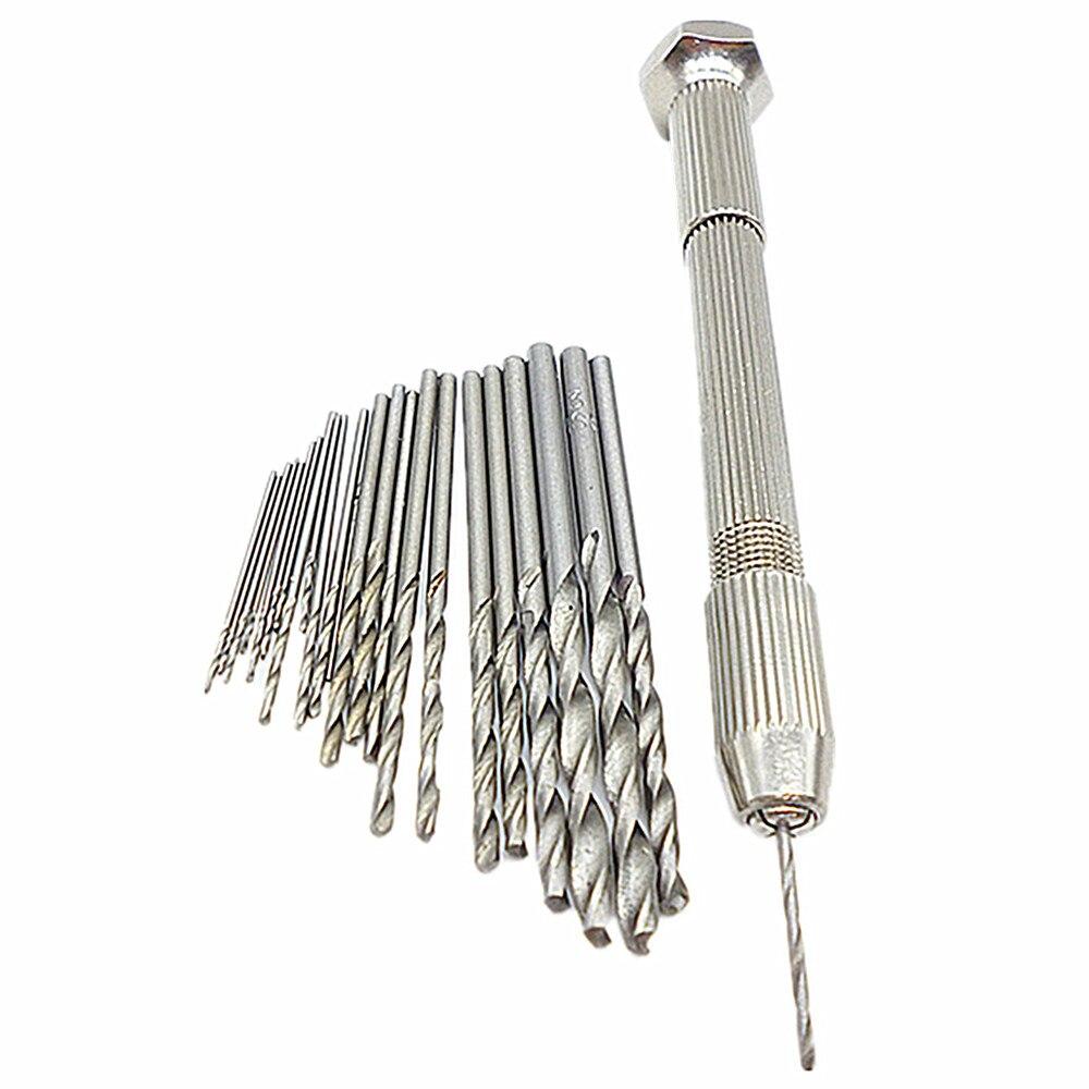 25pcs 0.5mm-3mm Mini Micro Drill Hss Bits Set With Swivel Head Pin Vise Manual Hand Drill Chuck Jewelry Beading Hand Twist Drill