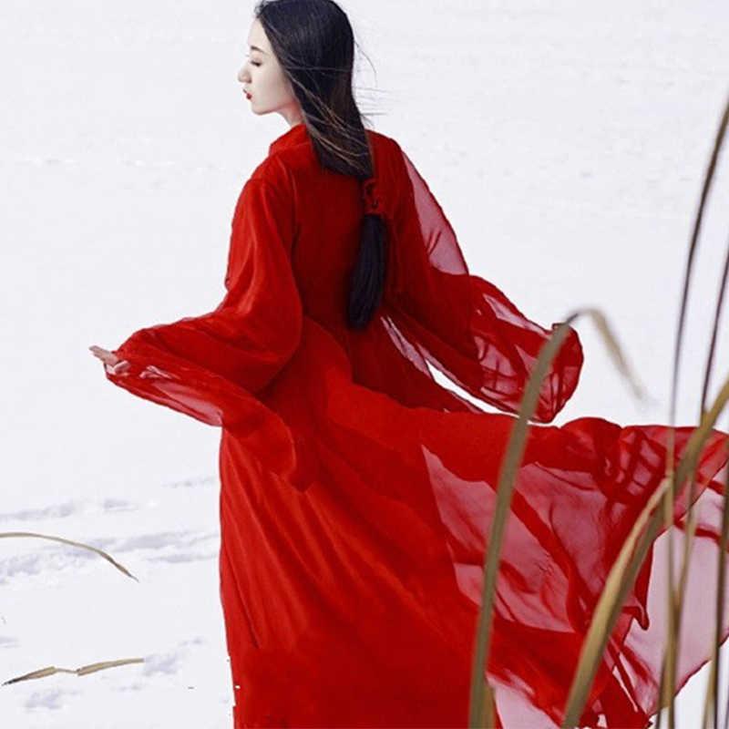 Trung Quốc Cổ Đại Trang Phục Nữ Quần Áo Truyền Thống Hanfu Nhà Đường Vũ Trang Phục Dân Gian Cổ Tích Đầm Đỏ Trang Phục DNV11416