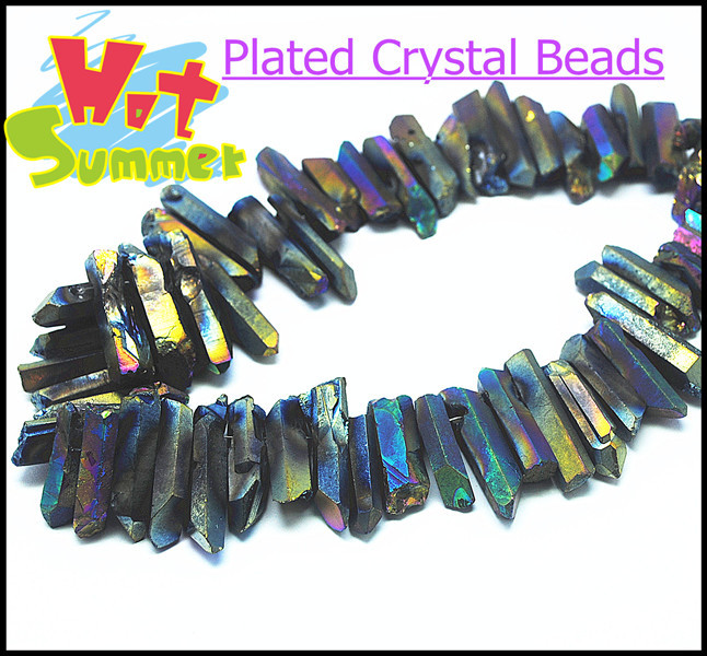 New Plated Crystal Beads Strand Irregular Shape 30cm length rainbow color brown color for choice