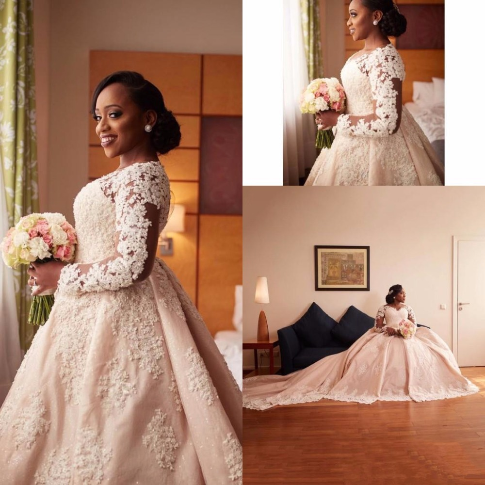 Nigerian Wedding Gowns: African Nigerian 2019 Long Sleeves Wedding Dresses Beads