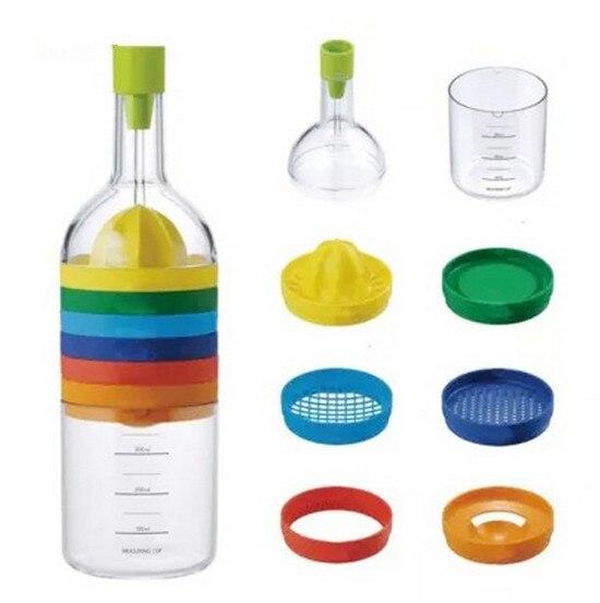 1 pc 8 em 1 ferramentas de cozinha forma garrafa profissional slicer ralador moedor funil copo medição gadget profissional ok 0503