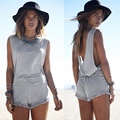 2016 New Arrived Women Playsuit Sexy Summer Backless Tassel Rompers Hot Sale Casual Beach Vacation Grey Jumpsuit Women Clothing