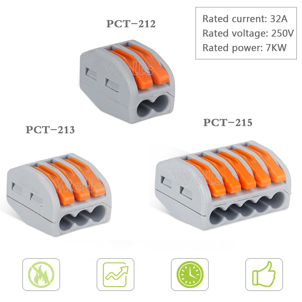 1-10pcs Wago connector PCT-212 /213 /215 Universal Compact Wire 2pin/3pin/5pin Connector Conductor Terminal Block wago connector 50pcs pct 212 213 215 20pcs 2p 20pcs 3p 10pcs 5p universal compact wire connector conductor terminal block