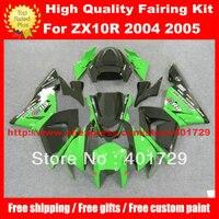 Обтекатели корпуса Комплект для Ninja 04 05 ZX10R части ZX 10R 2004 2005 глянцевый зеленый/черный высокий класс кузов комплект с бесплатным лобовое стекл