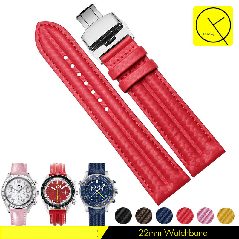 Colorful Carbon Fibre Watchstrap Calf Genuine Leather Bracelets 22mm Watchband for Omega Watches Straps Man Accessaries+Tools