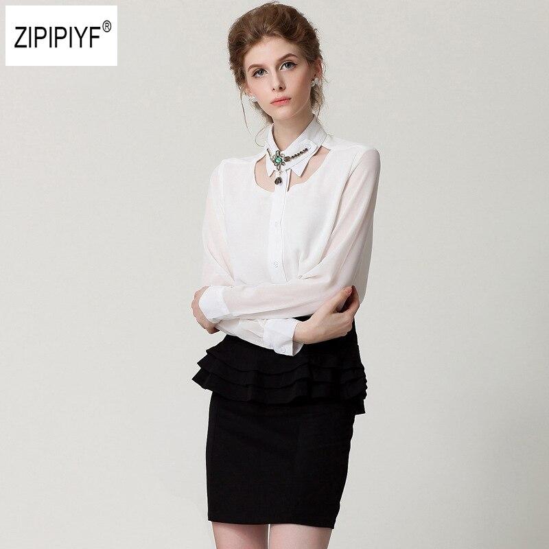 New spring Hollow Out women shirt OL temperament formal notched long sleeve Rivet slim chiffon blouse ladies tops blusas B1180