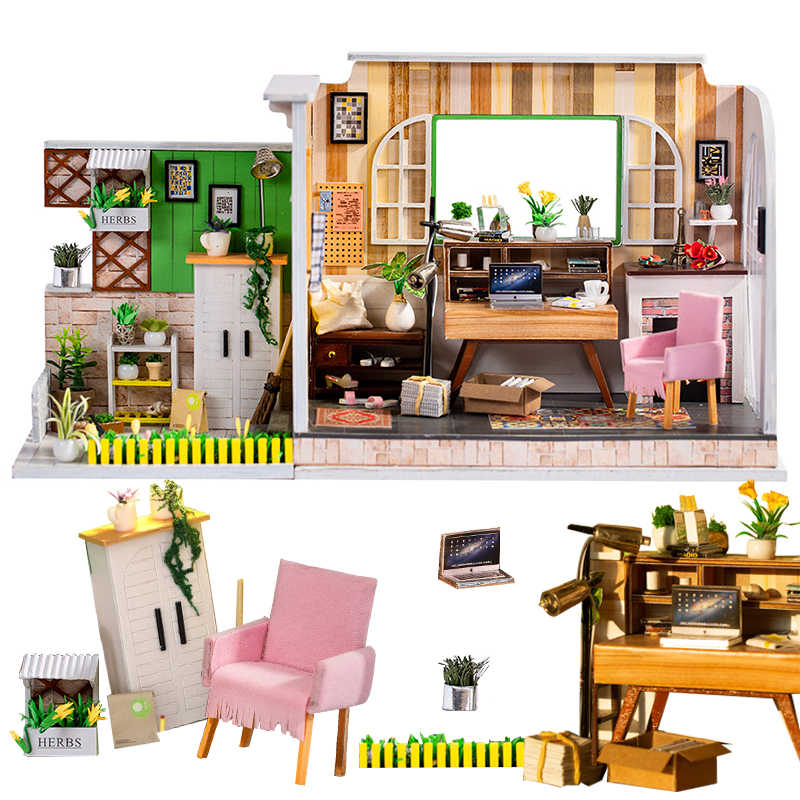 3D Doll House Furniture Miniature Dollhouse DIY Miniature House Room Box Theatre Toys for Children stickers DIY Dollhouse Gifts