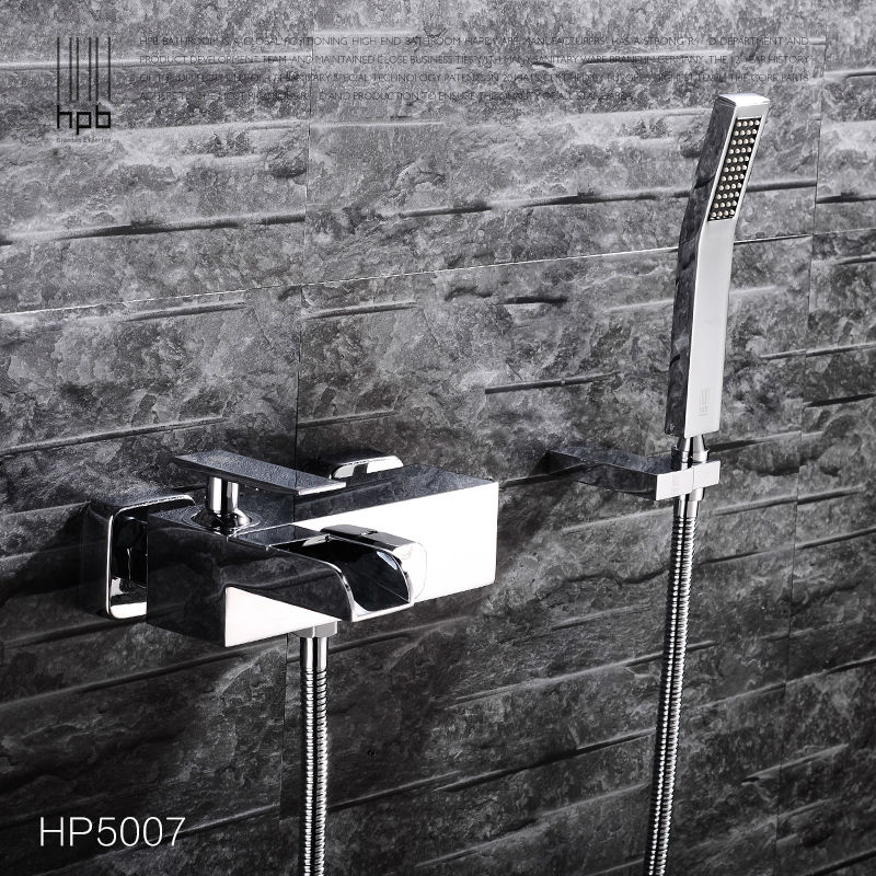 HPB Brass Waterfall Bathroom Hot And Cold Water Bathtub Mixer Rotary Shower Faucet torneira banheiro HP5007 shivers 64a hot cold waterfall bathroom bathtub set 3pcs bathtub lavabo ducha torneira plumbing sanitary mixer tap faucet
