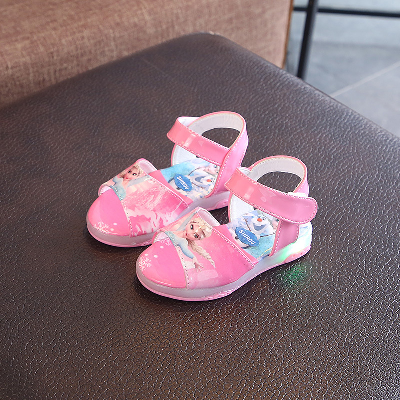 New Cute Kids Leather Flat Sandal For Girls Princess Elsa School Children Shoes Light Infant Soft Sandal Baby Led Summer Shoes