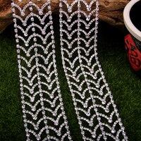 Tape Crystal Rhinestone Chain Trims for Wedding Dress Neckline Belt Costume Applique DIY Bracelet Necklace 1 yard 4.0 cm